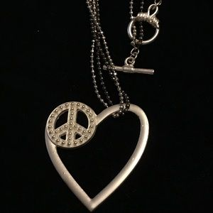 Jewelry - Silver Heart w/ Peace Symbol Necklace